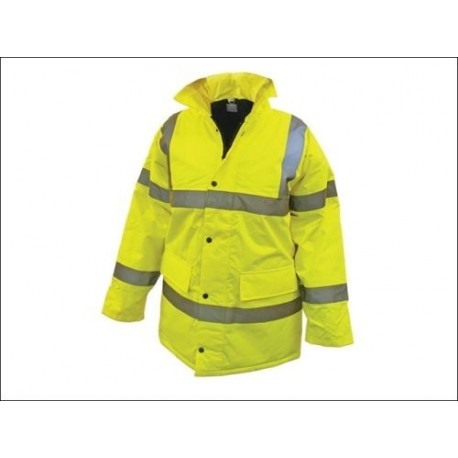 Hi Vis Parka - Yellow - Heavy Duty Work Site Jacket_new