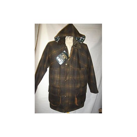 TWO TONE CHECKED PADDED WAX JACKET